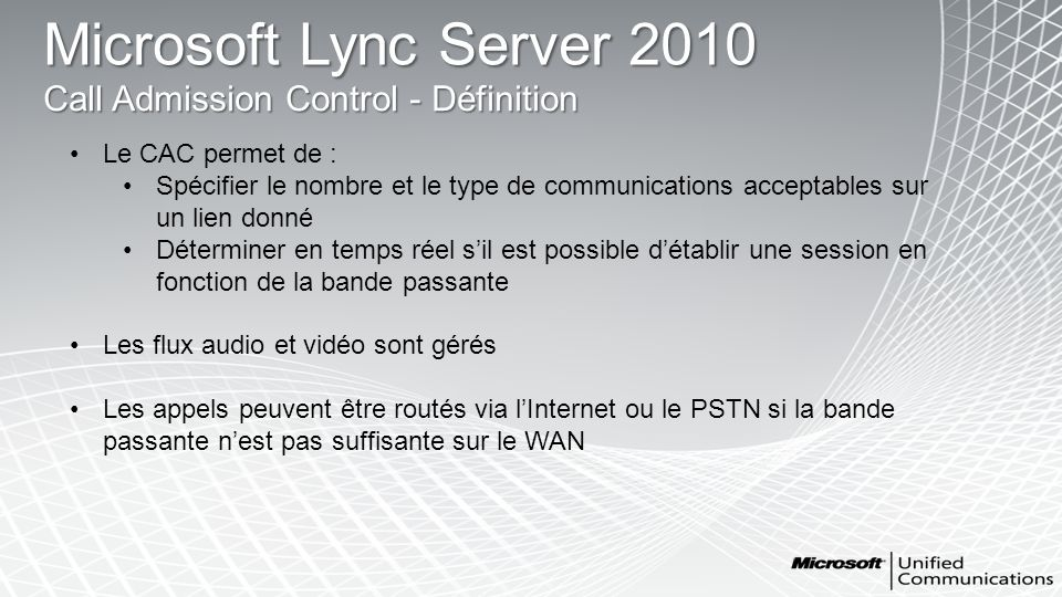 Microsoft Lync Server 2010 Call Admission Control - Définition