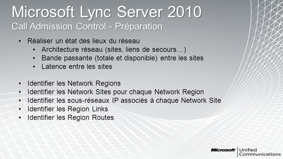 Microsoft Lync Server 2010 Call Admission Control - Préparation