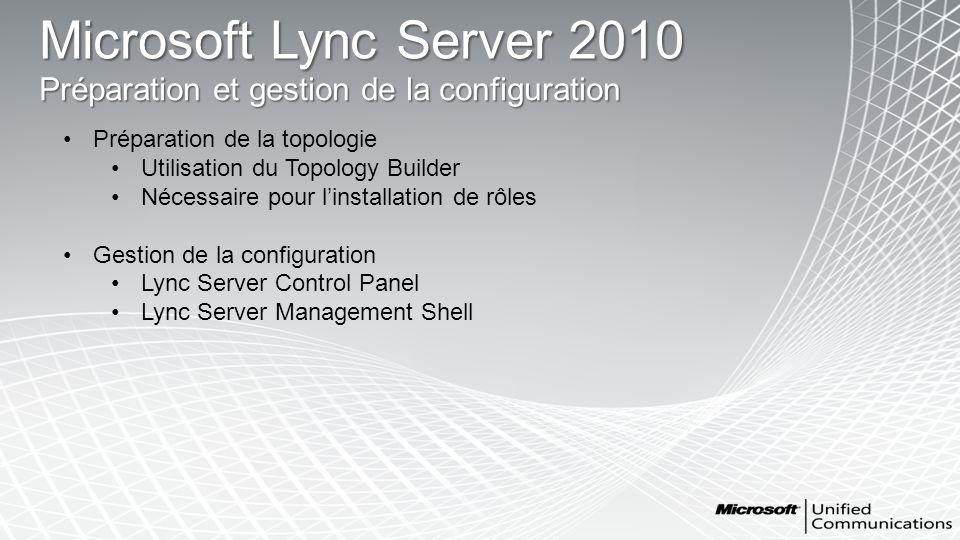 Microsoft Lync Server 2010 Préparation et gestion de la configuration