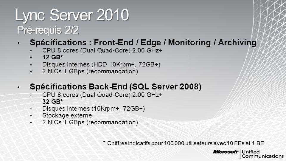 Lync Server 2010 Pré-requis 2/2