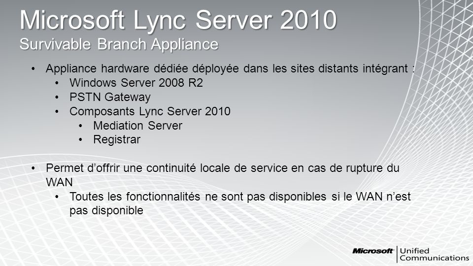 Microsoft Lync Server 2010 Survivable Branch Appliance