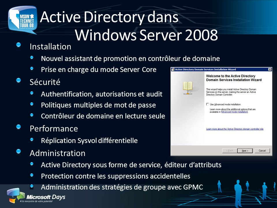 Active Directory dans Windows Server 2008