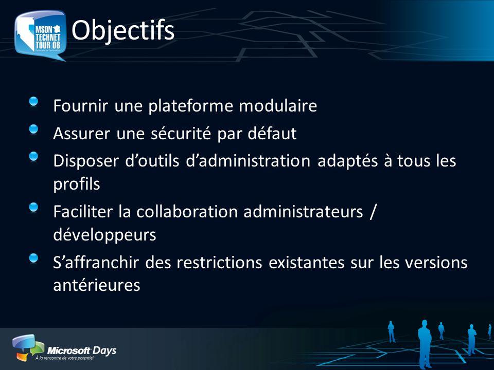 Objectifs Fournir une plateforme modulaire