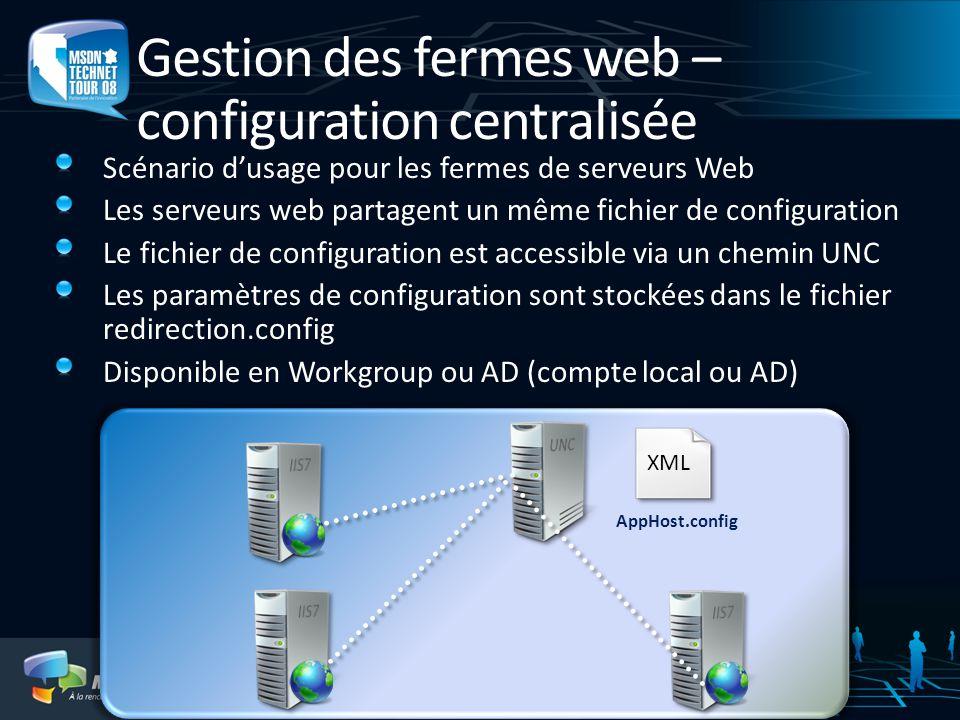 Gestion des fermes web – configuration centralisée