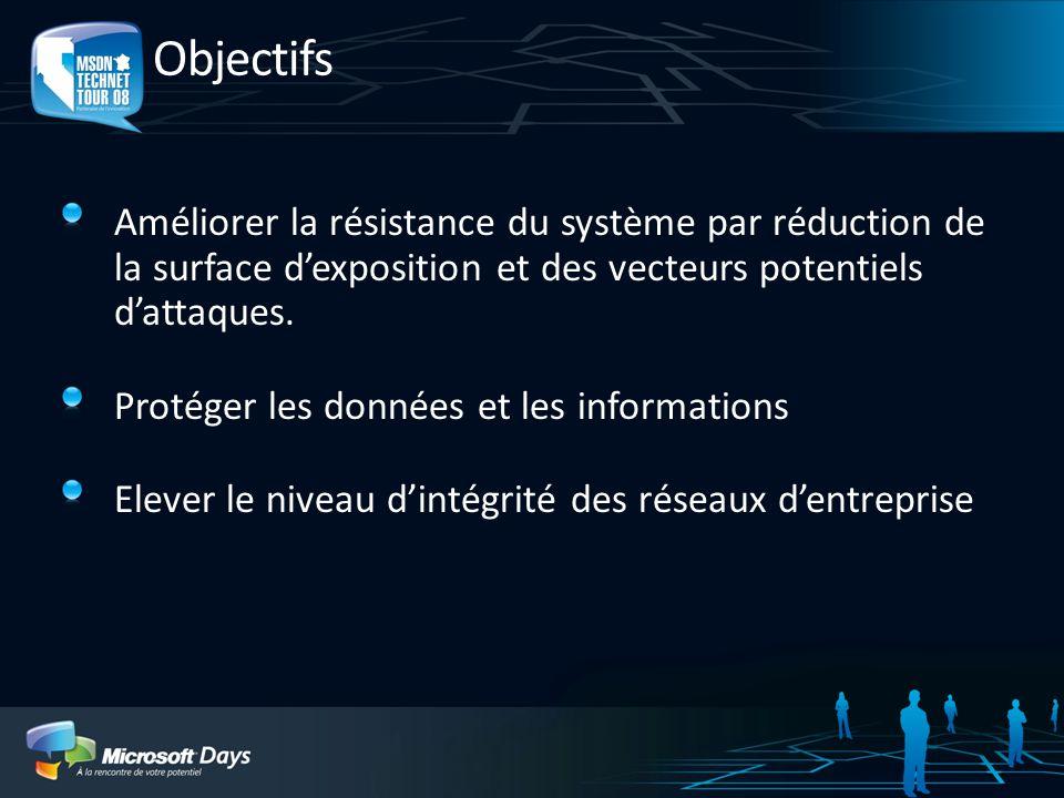 Objectifs Améliorer la résistance du système par réduction de la surface d'exposition et des vecteurs potentiels d'attaques.
