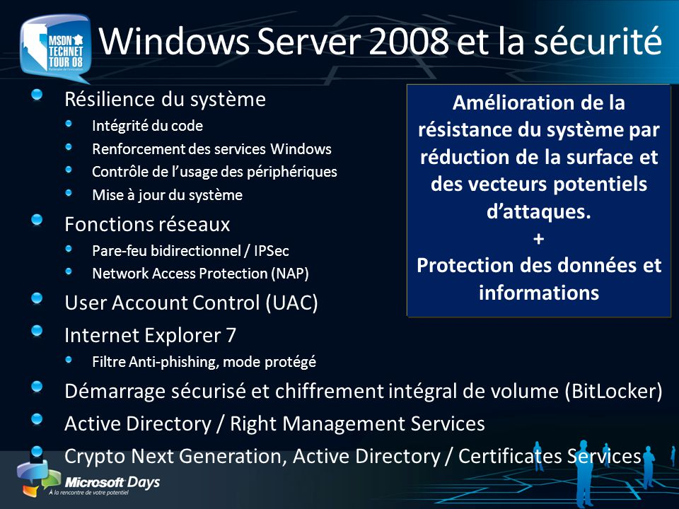 Windows Server 2008 et la sécurité