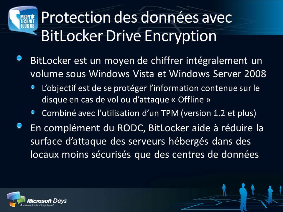 Protection des données avec BitLocker Drive Encryption