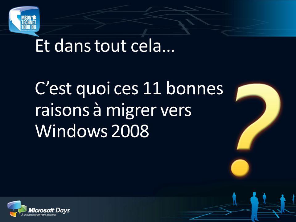 3/31/2017 9:53 PM Et dans tout cela… C'est quoi ces 11 bonnes raisons à migrer vers Windows 2008.