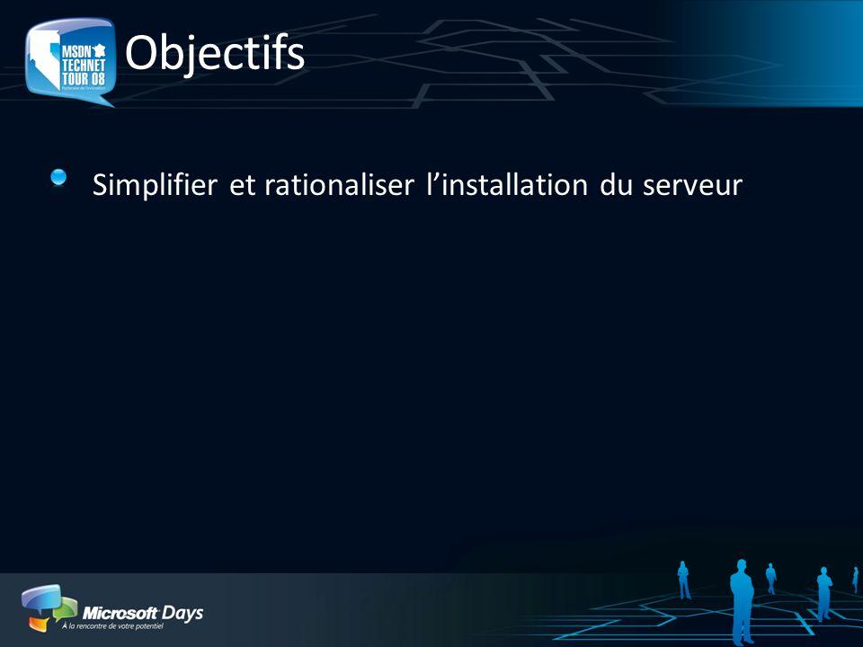 Objectifs Simplifier et rationaliser l'installation du serveur