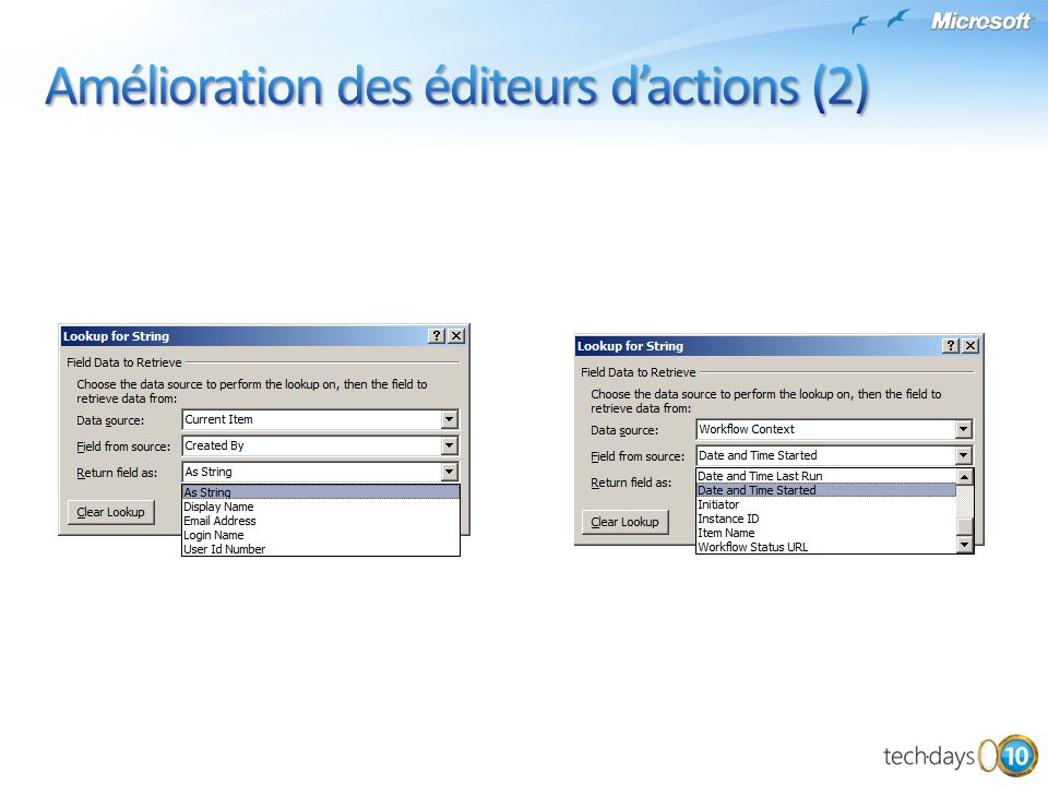 Amélioration des éditeurs d'actions (2)