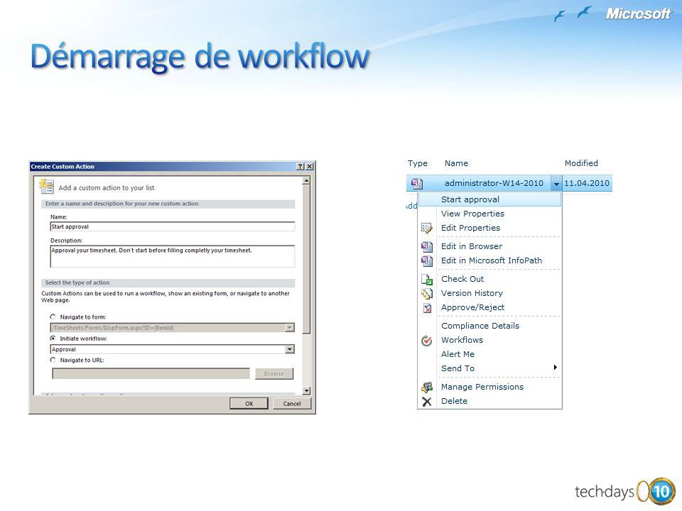 Démarrage de workflow