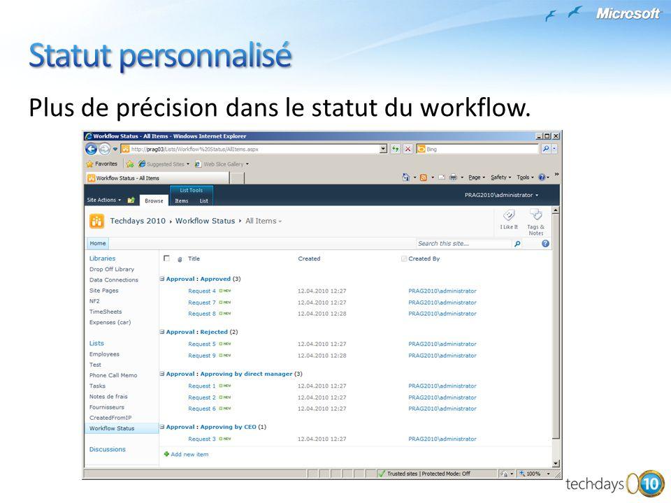 Statut personnalisé Plus de précision dans le statut du workflow.
