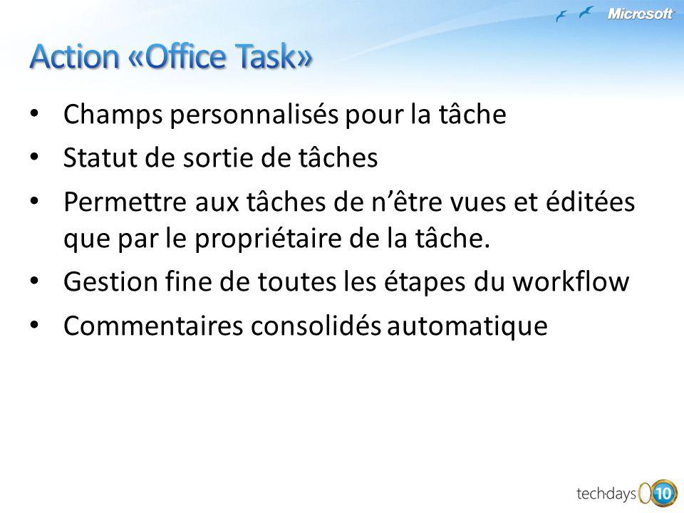 Action «Office Task» Champs personnalisés pour la tâche