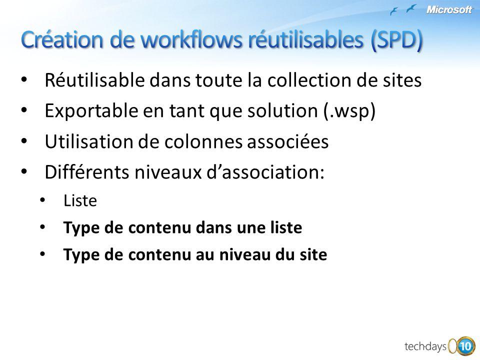 Création de workflows réutilisables (SPD)