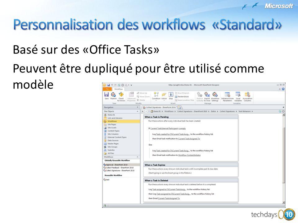 Personnalisation des workflows «Standard»