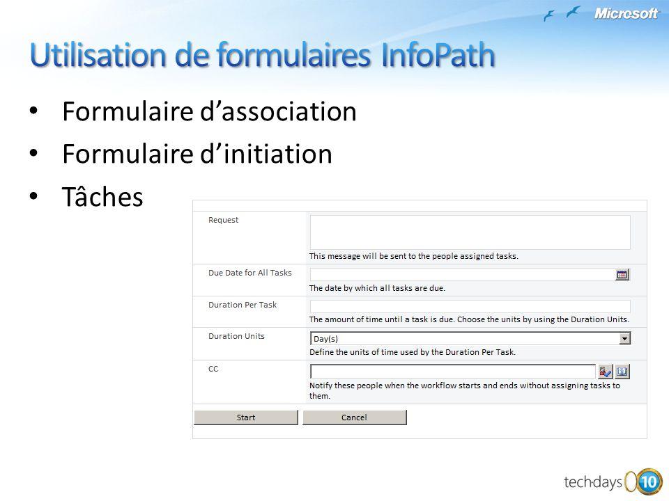 Utilisation de formulaires InfoPath