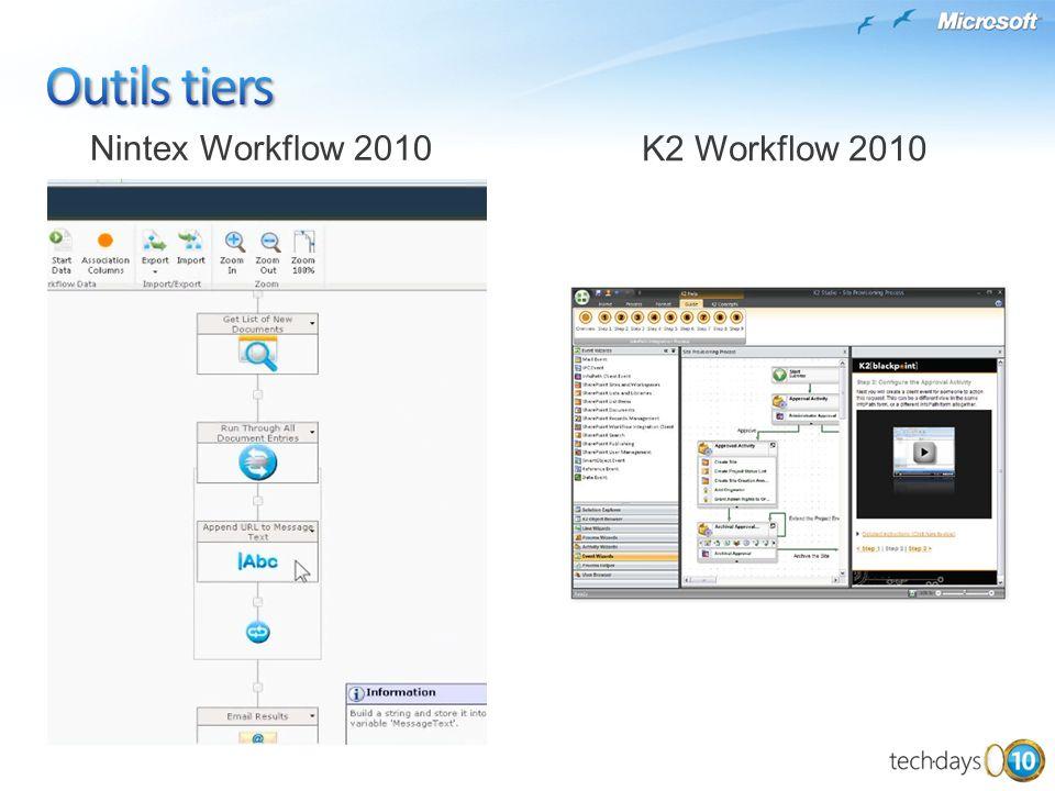 Outils tiers Nintex Workflow 2010 K2 Workflow 2010