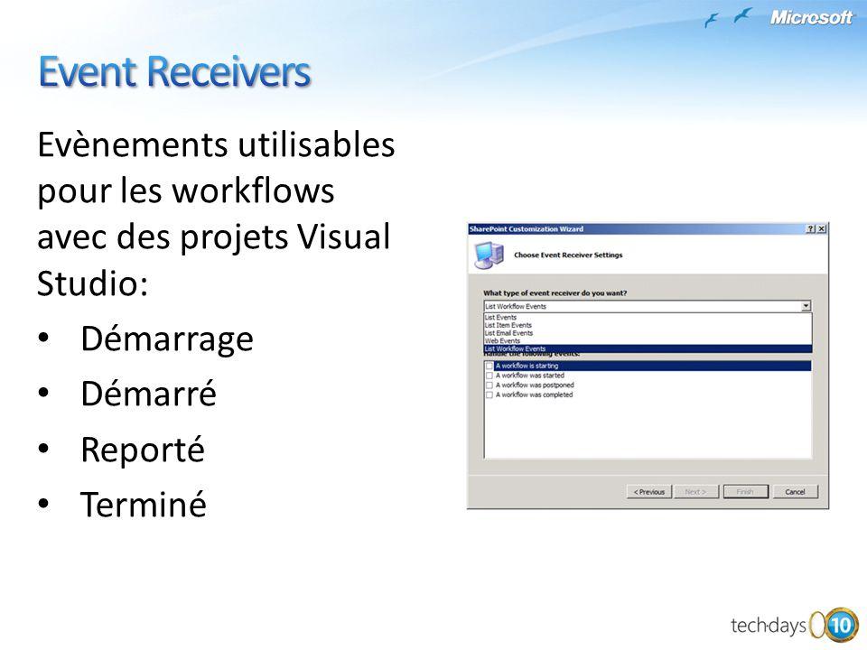 Event Receivers Evènements utilisables pour les workflows avec des projets Visual Studio: Démarrage.