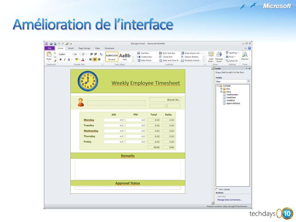 Amélioration de l'interface