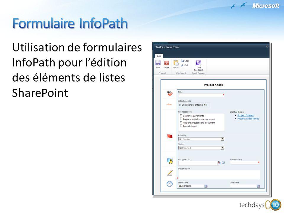 Formulaire InfoPath Utilisation de formulaires InfoPath pour l'édition des éléments de listes SharePoint.