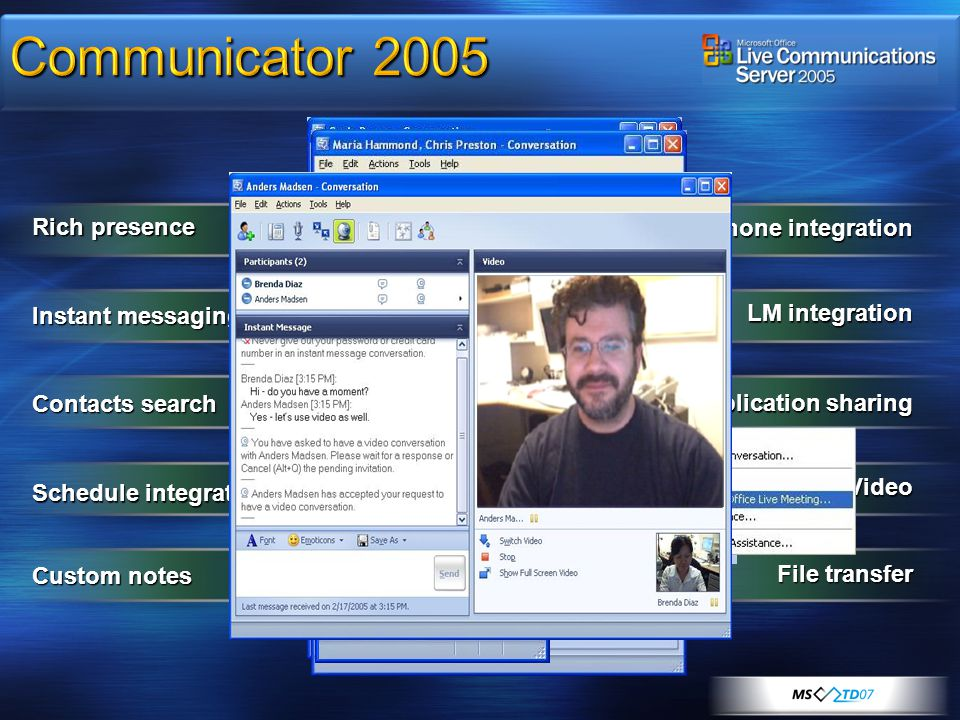 Communicator 2005 Rich presence Phone integration Instant messaging