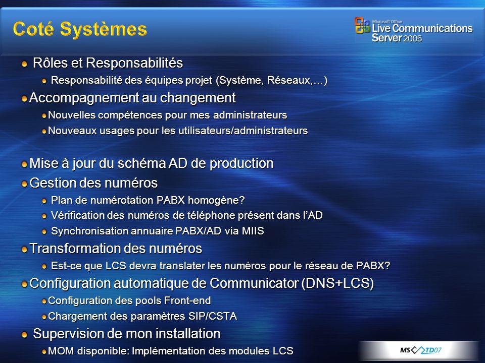 Coté Systèmes Rôles et Responsabilités Accompagnement au changement