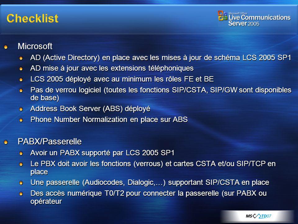 Checklist Microsoft PABX/Passerelle