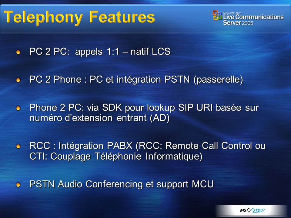 Telephony Features PC 2 PC: appels 1:1 – natif LCS