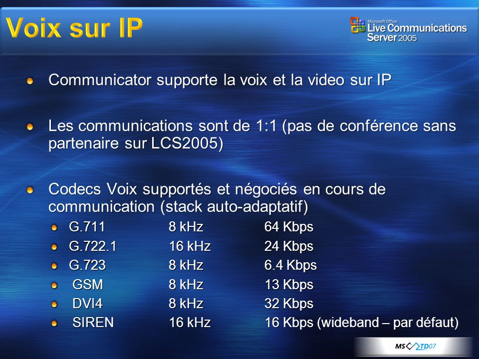 Voix sur IP Communicator supporte la voix et la video sur IP