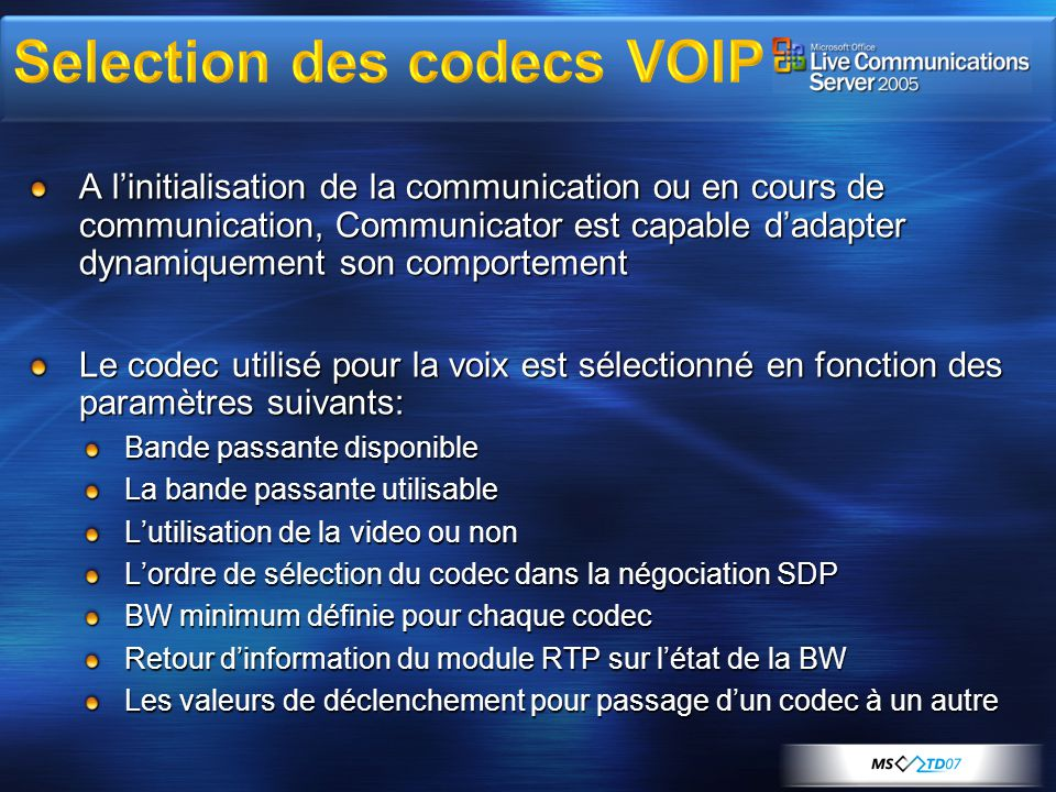 Selection des codecs VOIP