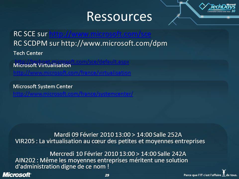 Ressources RC SCE sur http://www.microsoft.com/sce