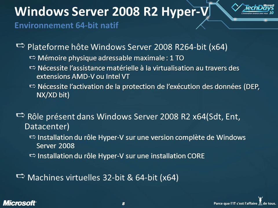 Windows Server 2008 R2 Hyper-V Environnement 64-bit natif