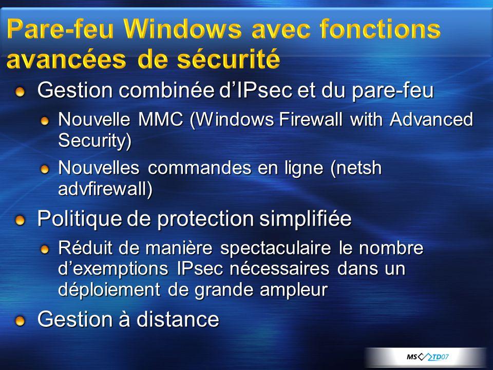 Pare-feu Windows avec fonctions avancées de sécurité