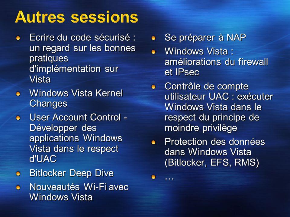 3/31/2017 9:53 PM Autres sessions. Ecrire du code sécurisé : un regard sur les bonnes pratiques d implémentation sur Vista.