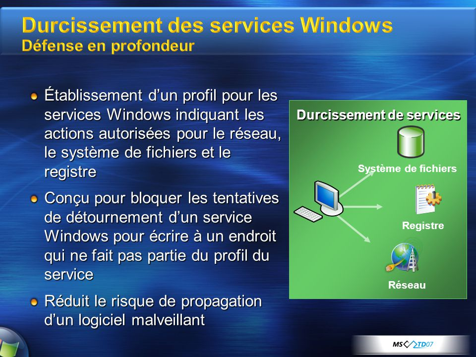 Durcissement des services Windows Défense en profondeur