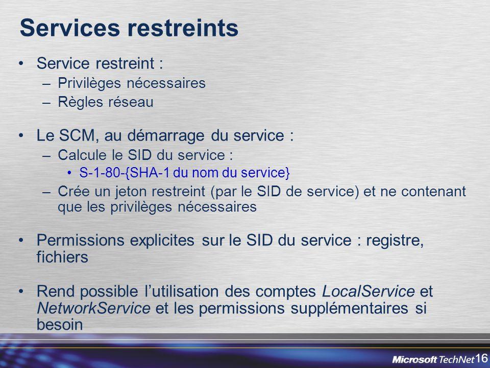 Services restreints Service restreint :