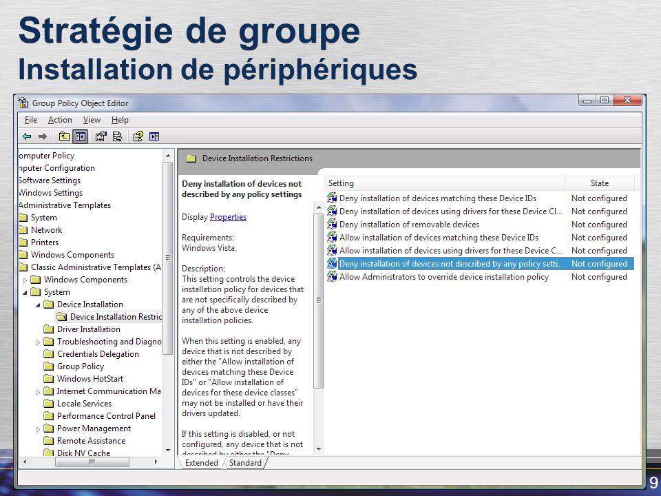 Stratégie de groupe Installation de périphériques