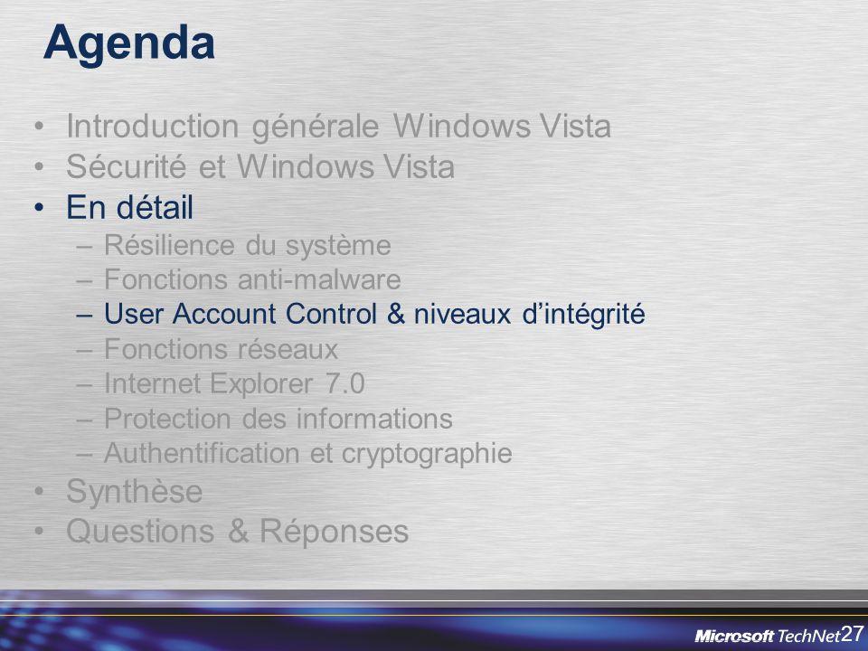 Agenda Introduction générale Windows Vista Sécurité et Windows Vista