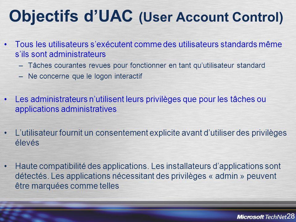 Objectifs d'UAC (User Account Control)