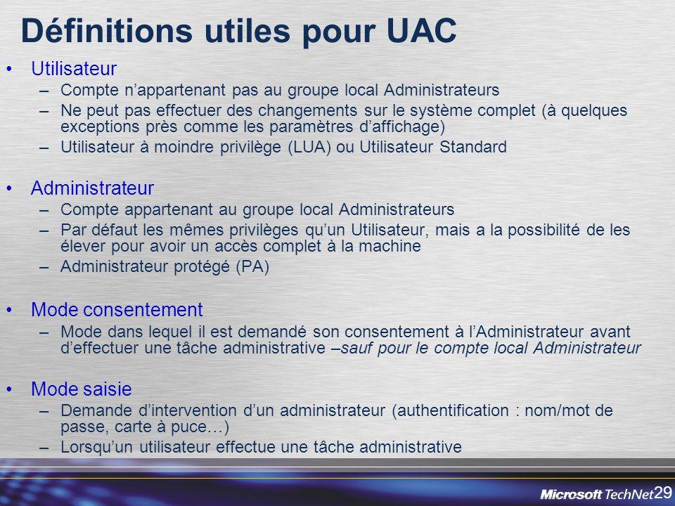 Définitions utiles pour UAC