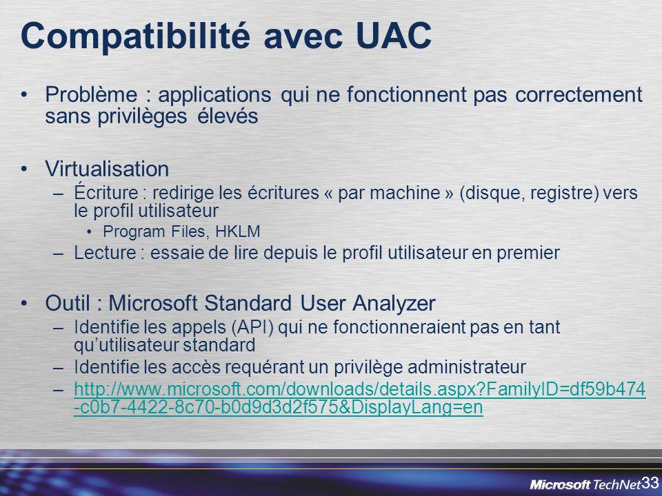 Compatibilité avec UAC