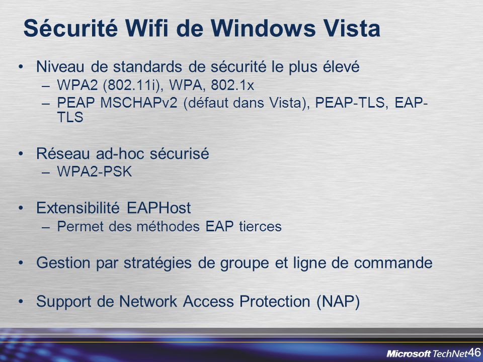 Sécurité Wifi de Windows Vista