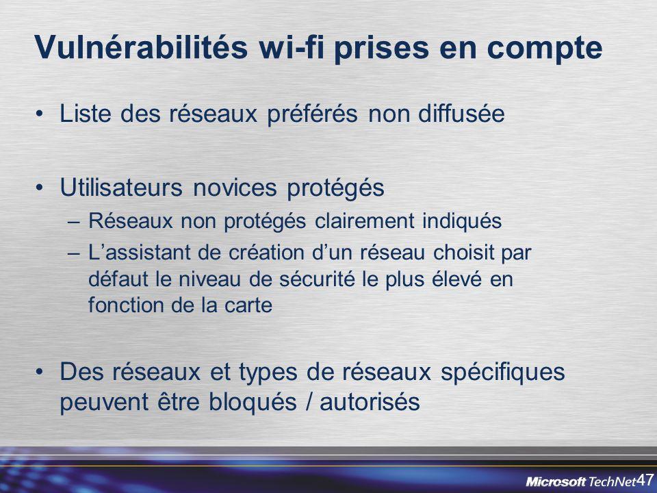 Vulnérabilités wi-fi prises en compte
