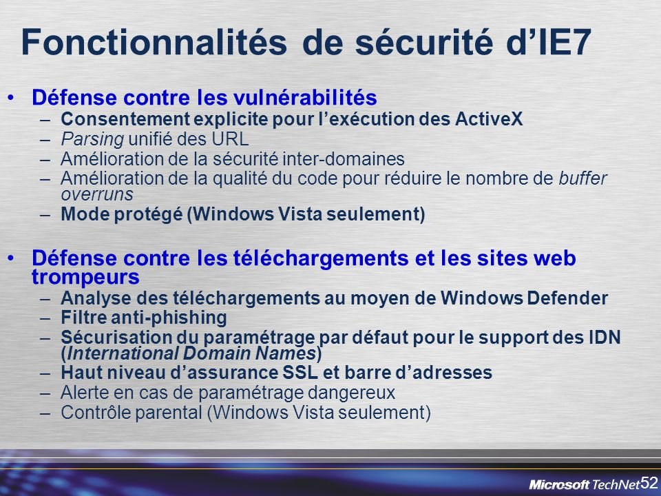 Fonctionnalités de sécurité d'IE7