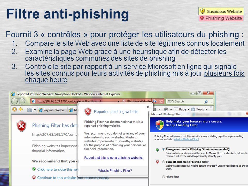 Filtre anti-phishing Fournit 3 « contrôles » pour protéger les utilisateurs du phishing :