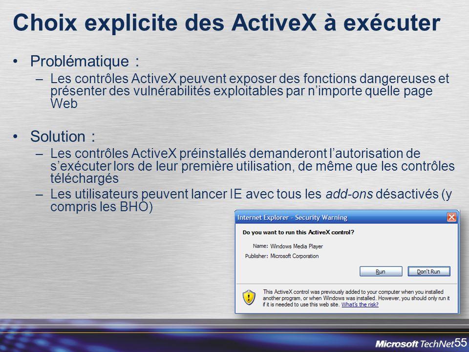Choix explicite des ActiveX à exécuter