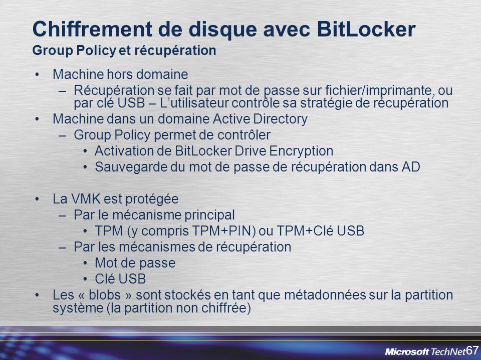 Chiffrement de disque avec BitLocker Group Policy et récupération