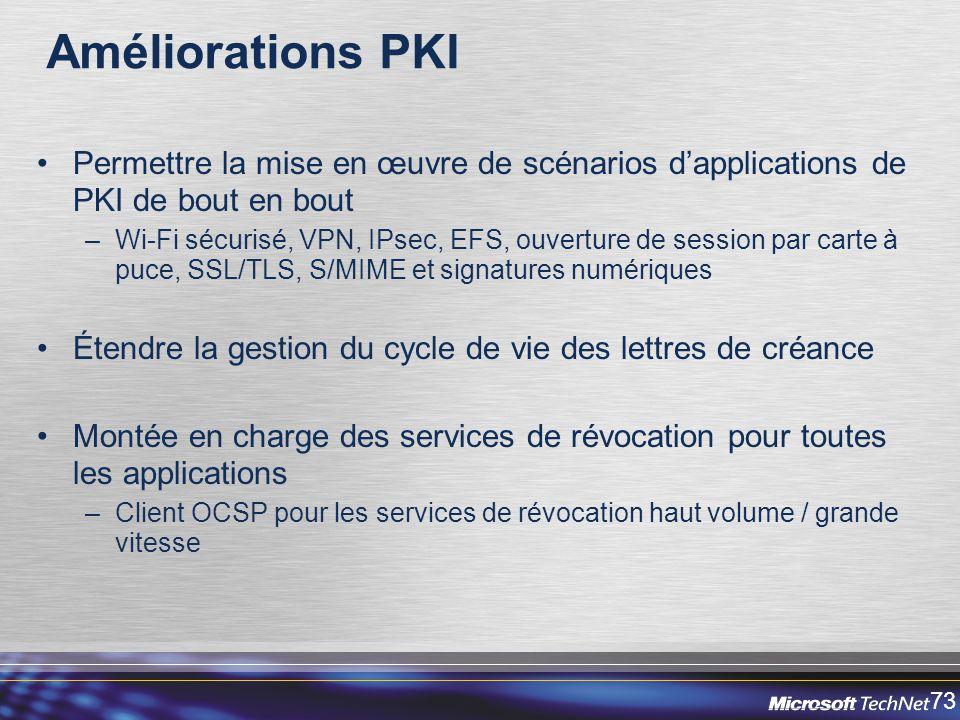 Améliorations PKI Permettre la mise en œuvre de scénarios d'applications de PKI de bout en bout.