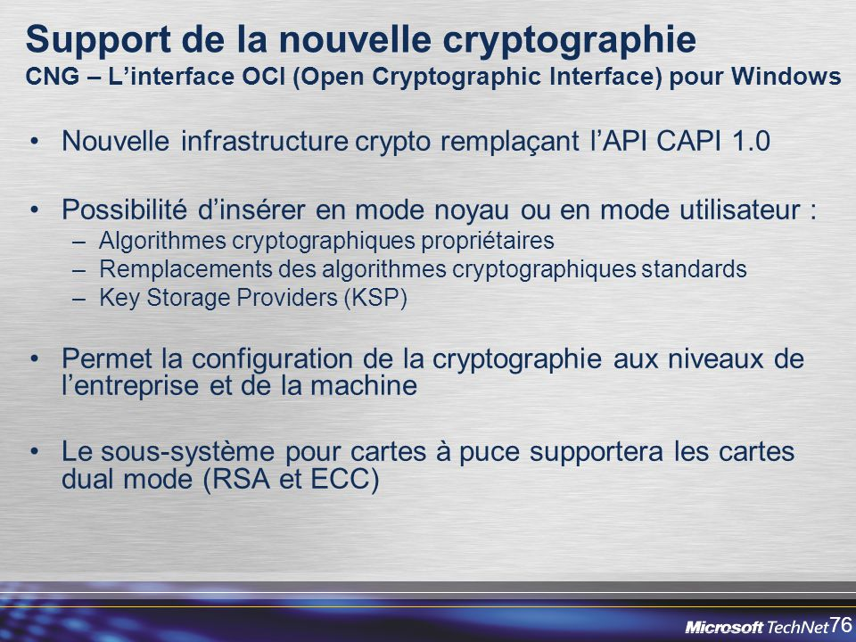Support de la nouvelle cryptographie CNG – L'interface OCI (Open Cryptographic Interface) pour Windows