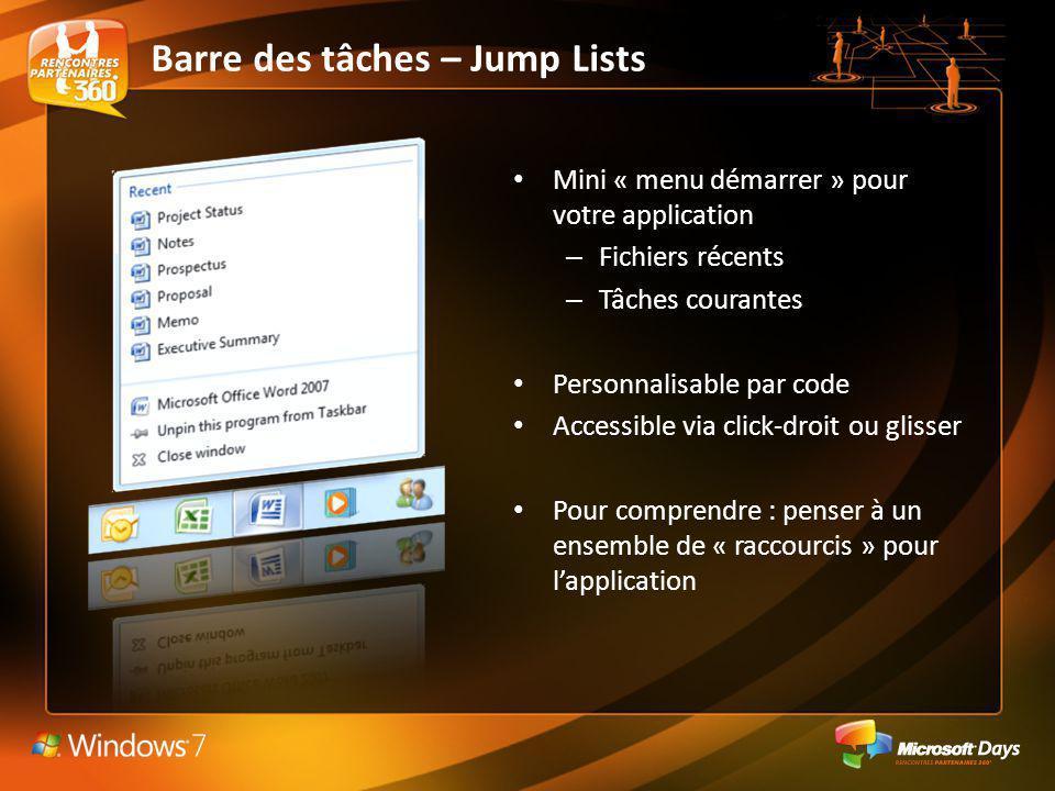Barre des tâches – Jump Lists